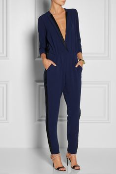 By Malene Birger - Neemi silk twill-trimmed crepe jumpsuit Fashion Days, Work Fashion, Fashion Looks, Party Looks, Danish Fashion, Black And White Baby, Malene Birger, Mode Inspiration, Suits For Women
