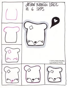 Draw Kawaii Toast step by step