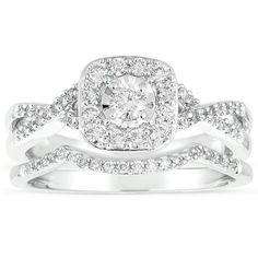 Infinity 1 Carat Round Diamond Wedding Ring Set in 10k White Gold showcases 1/4 carat Round diamond surrounded with 3/4 carat diamonds for total 1 carat weight