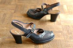vintage NOS 1940s shoes / 40s navy blue mary by honeytalkvintage, $125.00