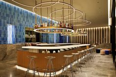 concrete unveils the completed images of japan's first W hotel in osaka Neon Licht, Living Room Bar, Open Bathroom, Granite Flooring, Mirror Backsplash, W Hotel, Tadao Ando, Japan Design, White Ceiling