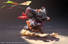 A kite is chasing  a baby elephant                      haha, Xiaoyu Wang on ArtStation at https://www.artstation.com/artwork/NYJzq