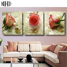 3 Piece Wall Art Pictures Red Rose Painting Realist Flower Oil Painting Printed On Canvas Wedding Bedroom Romantic Decoration