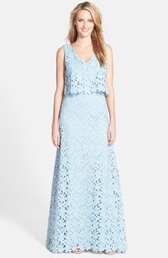 Vera Wang Lace Popover Gown available at #Nordstrom
