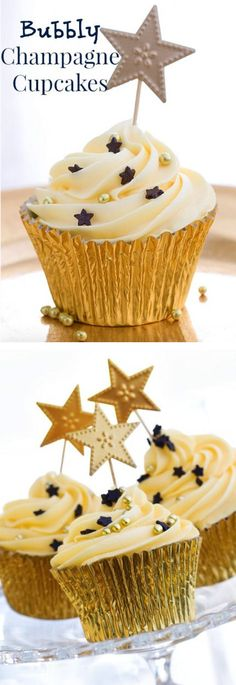 Bubbly Champagne Cupcakes Recipe! YUMM This recipe combines 2 of my favorite things! Cupcakes and Champagne...