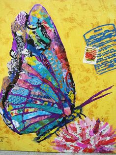 Torn paper collage art by Karla Schuster. Paper Collage Art, Collage Artists, Collages, Collage Collage, Mixed Media Collage, Magazine Collage, Magazine Art, Butterfly Art, Madame Butterfly