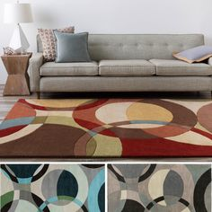 Hand-Tufted Contemporary Mayflower Circles Wool Rug (8' x 11') (Red), Size 8' x 11'