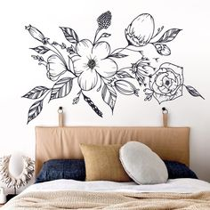 Adesivo de parede Tribale Bedroom Murals, Bedroom Wall, Bedroom Decor, Wood Bed Design, Wall Design, Mural Wall Art, Home Wall Art, Flower Mural, Seashell Painting