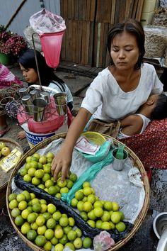 selling lemons at the market, Rangoon, Myanmar