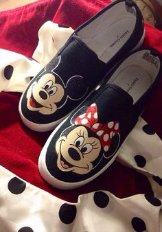 Hey, I found this really awesome Etsy listing at https://www.etsy.com/listing/176065376/mickey-and-minnie-painted-shoes