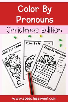Color by Pronouns: Christmas Edition is a fun and engaging grammar speech therapy activity. These sheets are a great way to teach pronouns. Perfect for speech therapy sessions in December! | Speech is Sweet