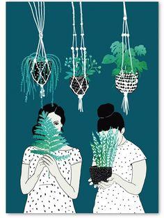 """Mit der Illustration """"Hiding"""" gehört Helke Rah zu den von uns ausgewählten Poster des Botanical Poster Contest 2016. Im Frühjahr 2016 haben das Grafikbüro Human Empire Studio und wir als Shop zum Botanical Poster Contest aufgerufen...."""