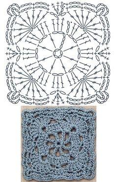 No.31 Rippling Square Lace Crochet Motifs / 리플링 사각 모티브도안 Crochet Squares, Crochet Mandala Pattern, Crochet Diagram, Crochet Chart, Crochet Granny, Crochet Stitches, Crochet Patterns, Crochet Edgings, Granny Squares