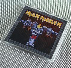 Great Iron Maiden Coaster by WeeHings on Etsy Iron Maiden, Coasters, Baseball Cards, Music, Etsy, Musica, Musik, Drink Coasters, Muziek