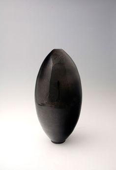 "Brother Thomas, Tall egg shaped vase, silver honan tenmoku, 18.75 x 9 x 9"""