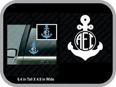 Solid anchor monogram decal car decal, round anchor monogram, anchor sticker, vine monogram, fancy anchor monogram - pinned by pin4etsy.com