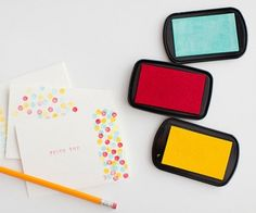 """""""Your kids can easily make their own unique notecards with a #2 pencil, alphabet stamps, bright colored ink pads, and blank notecards,"""" says blogger Kaley Diaz of Kaley Ann. She let her little tot have a ball by stamping a pencil eraser on an inkpad and blank notecards as she wished. Use alphabet stamps for a personal message!"""