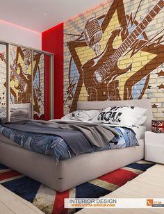 """"""" Rock room"""" Design of bedroom for girl by Vitta-group design studio """", 2015 - Elena Ponomarenko Vitta-Group"""