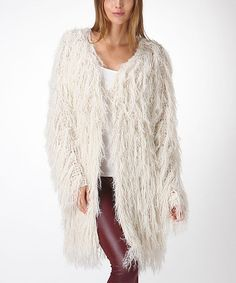 If only they had my size!  This looks like the messy me. Look what I found on #zulily! Ivory Faux-Fur Jacket by Trendology #zulilyfinds