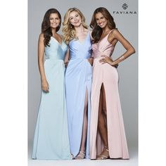 Faille satin v-neck evening dress w/ draped front | Faviana Style 7755 ❤ liked on Polyvore featuring dresses, satin dress, blue prom dresses, v-neck dresses, faviana dresses and faviana cocktail dresses