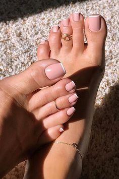 Acrylic Toe Nails, Pink Toe Nails, Pretty Toe Nails, Cute Toe Nails, Summer Toe Nails, Feet Nails, Nude Nails, Simple Acrylic Nails, Toenails