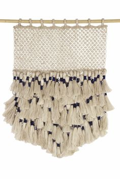 Jute Macrame Wall Hanging - Natural & Indigo with Tassels - The Dharma Door USA