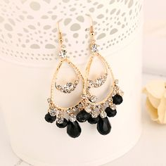 1c532e202668 Droplets Crystal Earrings. Pendientes De ClipPendientes De Oro ...