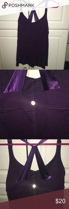 Got new lulu Lululemon. Ribbon/satin back. Great support. Worn 4 times. Pretty purple. lululemon athletica Tops Tank Tops