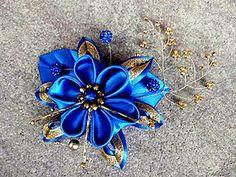 Ozdoby do vlasov - modro - zlatá sponka na želanie pre Juditku - 6998135_