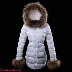 Womens Moncler Mari Fur Coats Long White
