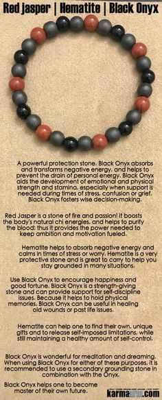Reminiscent of snakeskin, this sleek band is a sexy combination of Matte Black Hematite (grounding | balance | detoxifying), Black #Onyx (protection | encouragement | strength | good luck) and Red #Jasper (nurturing | grounding | stabilizing | insight | drive). #Love #Beaded #Bracelet #Yoga #Chakra #Mala #Stretch #Meditation #handmade #Jewelry #Energy #Healing #Crystals #Stacks #pulseiras #Bijoux #Handmade #Reiki #Mala #Buddhist #Charm #Mens #Womens….
