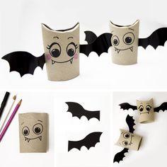 Pipistrelli per Halloween creati con i rotoli di carta igienica
