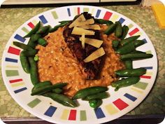 Blackened Grilled Chicken w/ Butternut Squash Risotto and Snow Peas
