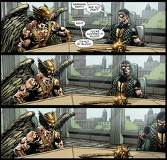 This interaction between Hawkman and Vibe in the pages of Justice League of America #2. | The 30 Greatest Comic Book Moments Of 2013