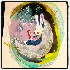 Baby bunny chillin reading #Friday #doodle #star #bunny #ink #illustration