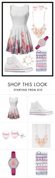 """""""120: Cute Skaterdress"""" by alinepelle ❤ liked on Polyvore featuring Converse, Suzy Levian, Full Tilt, GUESS, Casetify and Tory Burch"""
