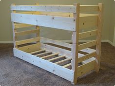 Use this picture to build the beds. Simple construction by just looking at the pictures. Customize the size depending on the mattress.