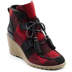 G.H. Bass Amp Co. Red  Black Plaid Teresa Wedge Booties - Women's ($130) ❤ liked on Polyvore featuring shoes, boots, ankle booties, lace up booties, lace-up wedge booties, black boots, black wedge booties and leather booties