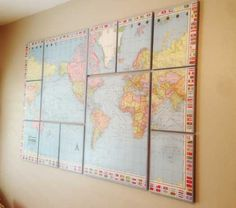 It's a Small World Nursery Theme - World Map on Canvas with flag boarder.  Disneyland nursery theme  DIY tutorial for your own map on canvas art piece. Creative Juices Decor