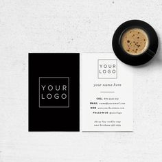 Pre Made Business Card Design - Add your own logo // Modern, Black & White, Minimalist Luxe business card design for personal or business