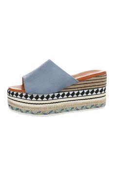 Sandale tip papuci cu platforma si motive etnice