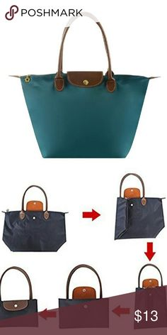 """Nylon Tote Bag Turquosie Features: reusable, folding, waterproof, Shopping Bag Made of high quality nylon and pu leather,well sewn craftsmanship..   The interior features one main pocket,one slip pocket and one opened pocket.  Medium Size: Length: 17.3""""; Height: 11.8""""; Width: 7""""; Handle Drop: 8""""; Mini Size: Length: 11.8""""; Height: 9""""; Width: 4.7""""; Handle Drop: 4"""" None Bags Totes"""