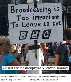 Furious about BBC News not showing the Peoples Assembly march  demo? Complain online https://t.co/4AkcWNv2EW  If you were in the centre of London today you might have noticed 50,000 people taking part in a massive march against 10 Downing Street's austerity policies.  It seems BBC News are capable of tracking down a single Scot at the World Cup - Brazil 2014 who cheered a goal against England but fail to notice 50,000 demonstrating on their doorstep.  REF: http://t.co/ZeKs2Ul7n4