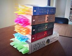 Someone put a post-it at every death in the Game of Thrones books. Here's what that looks like.
