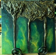 Golden Trees Mixed Media Assemblage Art on Canvas by ArtInSoulorg