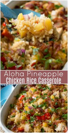 Aloha Pineapple Chicken Rice Casserole Recipe - Family Fresh Meals Recipe - #chicken #casserole #pineapple #pineapplechicken #rice #ricecasserole #recipe #dinner #easyrecipe #familyfreshmeals Quick Family Recipes, Simple Chicken Recipes, Simple Dinner Recipes, Chicken Rice Recipes, Brown Rice Recipes, Simple Meals, Easy Fish Recipes, Family Fresh Meals, Recipe Chicken