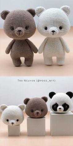 Crochet Panda, Crochet Kawaii, Crochet Teddy, Cute Crochet, Crochet Crafts, Crochet Projects, Crochet Animals, Crochet Patterns Amigurumi, Crochet Dolls