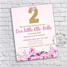 Woodland birthday invitation woodland animals invitation girl 2nd birthday invitation floral second birthday girl 2nd birthday invite gold pink birthday watercolor flower invitation editable stopboris Image collections