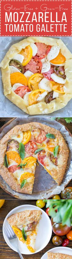 This Mozzarella Heirloom Tomato Galette showcases beautiful heirloom tomatoes bubbling with melted mozzarella cheese, all tucked into a gluten-free + grain-free Parmesan crust.