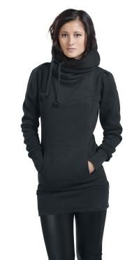 """- long fit  - extra broad hem - kangaroo pocket - hood with lateral drawstring  """"Smart Hoodie""""  What makes a black girls hooded sweater deserve the name """"Smart Hoodie""""? Easy one: with its 80 cm length, this long sweater with extra broad hem and cuffs covers your bottom securely, not shifting and moving up every 30 seconds, the lateral drawstrings won't hang in your food, and the two slide-in pockets will warm your hands."""